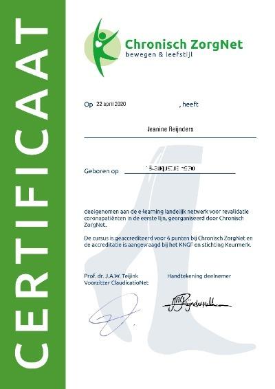 Certificaat Corona revalidatie (klein)